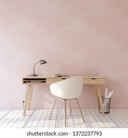 Hogar. Burla interior. Escritorio de madera cerca de una pared rosa vacía. 3d de representación.