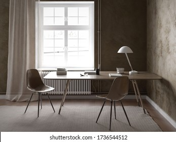 Home office interior Table and two chairs with dark walls - 3 d rendering