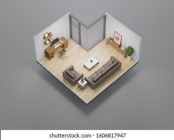 Home office and living room in real estate sale or property investment concept. Isometric low poly part of house 3d rendering.
