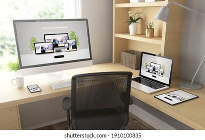 Heimbüro mit reaktionsfähigen Geräten - 3D-Rendering