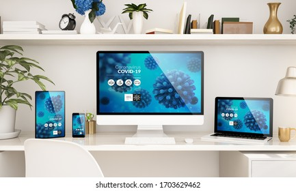 home office set up with responsive devices showing coronavirus info 3d rendering
