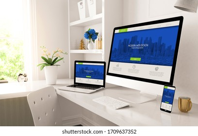home office set up with resposnive design on screen 3d rendering