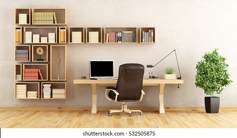 Home office with wooden bookcase and classic desk- 3d rendering