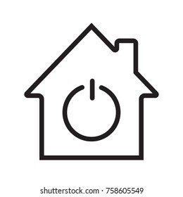 Home with power sign inside linear icon. Smart house. Thin line illustration. Contour symbol. Raster isolated outline drawing