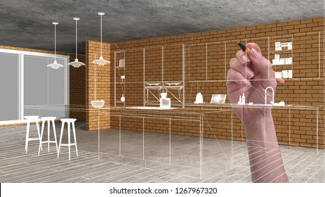 Home renovation, house development concept background, interior design under construction with hand drawing custom architecture, white sketch, blueprint showing modern kitchen, 3d illustration