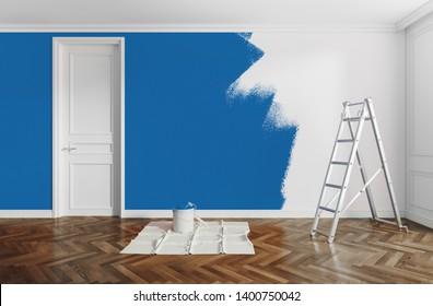 Home renovation, paint, 3d rendering