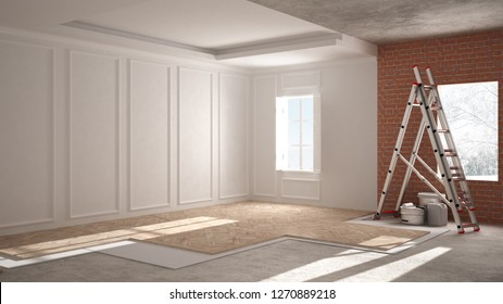 Home renovation, repairing process, restructuring and wall painting, construction concept. Brick and painted walls, parquet floor, walls laying, covering, architecture interior design, 3d illustration