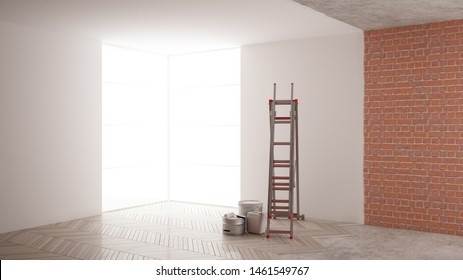 Home renovation, restructuring process, repair and wall painting, construction concept. Brick and painted walls, parquet floor, walls laying and covering, architecture interior design, 3d illustration