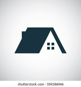 home roof icon, on white background