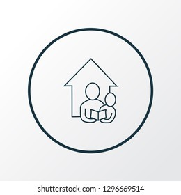 Home schooling icon line symbol. Premium quality isolated family element in trendy style.