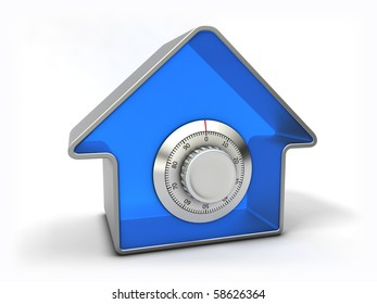 Home security concept. Blue house with combination safe lock.