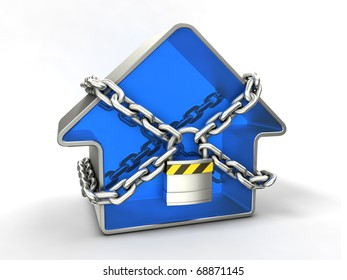 Home security concept. Blue house with chain and padlock.