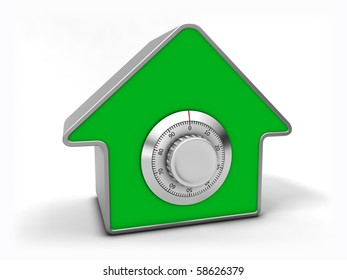 Home security concept. Green house with combination safe lock.
