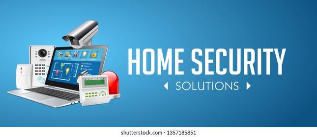Home security system concept - motion detector, gas sensor, cctv camera, alarm siren - website banner