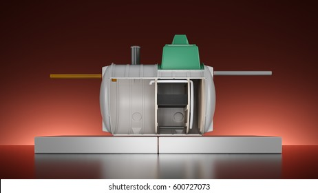 Home sewage system cross section 3D illustration