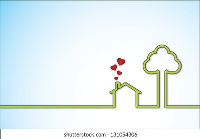 Home Sweet Home Concept illustration with a lonely green home next to a big tree with red heart shaped icons coming out of chimney