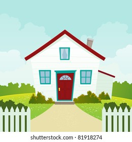 Home Sweet Home/ Illustration of a friendly and welcoming american house in cartoon style