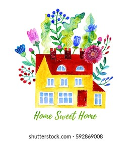 Home Sweet Home. Watercolor illustration of the house, flowers, berries and leaves