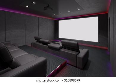 Home Theater Interior. 3d illustration.