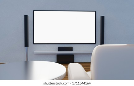Home Theater on white plaster wall. Big wall screen TV and  Audio equipment use for Mini Home Theater. white sofa and table on wooden floor. 3D Rendering.