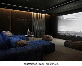 Home Theater room , Luxury interior #2 , 3D render
