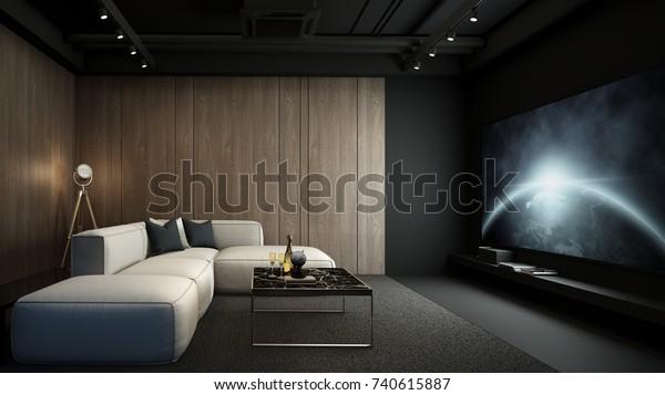 Home theater room, modern interior, 3D render