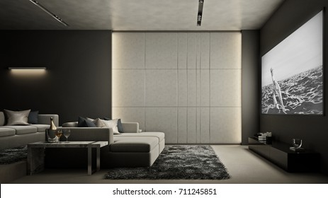 Home Theater room , Modern Luxury interior , 3D render