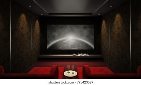 Home theater room red seat #2, 3D render