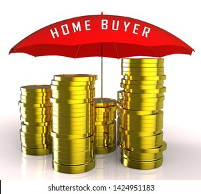 Homebuyer Coins Illustrates Buying A Home, Apartment Or House. Housing Ownership Using Mortgage Or Cash - 3d Illustration