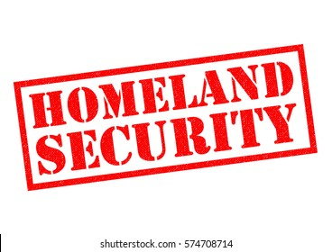 HOMELAND SECURITY red Rubber Stamp over a white background.