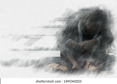 homeless or beggar are sad, dirty, poor, hungry, tired, fear and want to have a home, clothes, food, and money. Man waits for an opportunity from the person to help them with copy space on watercolor
