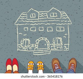 Homeless family dreaming about own home mortgage hypothec.  Color illustration.