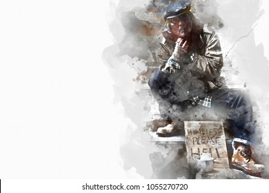 Homeless man on walkway street on watercolor painting background.