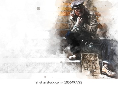 Homeless man on walkway street, Homeless concept on watercolor painting background.