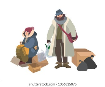 Homeless man and woman begging for money on street. Pair of bums, beggars, vagrants or vagabonds. Poor male and female cartoon characters isolated on white background. Colorful illustration.