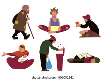 Homeless people, tramps, beggars and panhandlers characters isolated on white background raster illustration
