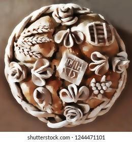Homemade decorated Serbian slava bread. Illustration.