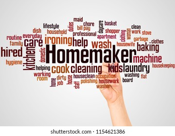 Homemaker word cloud and hand with marker concept on gradient  background.