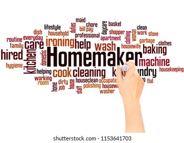 Homemaker word cloud and hand writing concept on gradient  background.