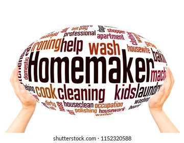 Homemaker word cloud sphere concept on white background.
