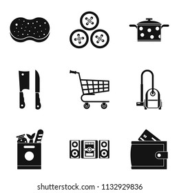 Homemaking icons set. Simple set of 9 homemaking icons for web isolated on white background