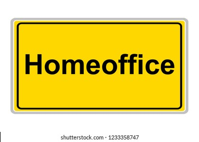 Homeoffice sign against white background