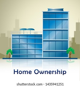 Homeownership Apartment Shows Owning A House Or Real Estate. Purchasing Agreement For A New Dream Home - 3d Illustration