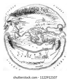 Homer's map of the world, vintage engraved illustration. Magasin Pittoresque 1846.