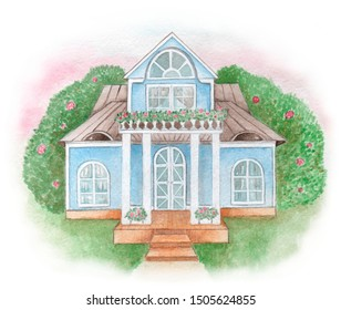 Homestead in the garden. Watercolor painting.
