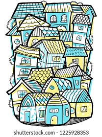 Hometown cute doodle illustration.
