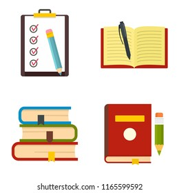 Homework study school icons set. Flat illustration of 4 homework study school icons isolated on white