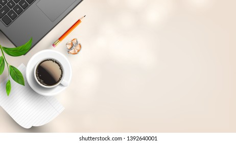 Homey Workplace With Supplies Flat Lay . Laptop Near Branch, Cup Hot Coffee On List Of Paper, Pencil With Eraser And Sharpening Shavings On Workplace. Copy Space Top View Illustration