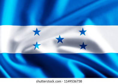 Honduras 3D waving and closeup flag illustration with reflections. Usable for background and texture.