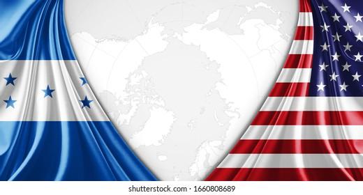 Honduras und amerikanische Flagge mit Kopienraum für Ihren Text oder Ihre Bilder und Hintergrund-3D-Illustration